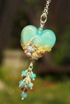 Kryptonite Beach Heart Necklace w/dreamy Amazonite gems & Botswana Agate!  -SOLD-