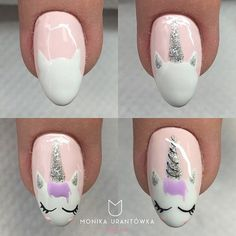 Many people have a passion for unicorn nails. And Unicorn nails are becoming a unique trend. If you think you have a different opinion, you should take a closer look at this list of Unicorn nail designs right away. We are convinced that even those w Cute Nail Art, Nail Art Diy, Cute Nails, Kid Nail Art, How To Nail Art, Nail Art Ideas, Baby Nail Art, Nail Art For Girls, Unicorn Nails Designs