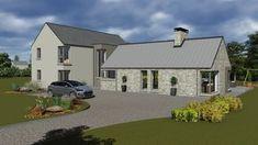mod065 Bungalow House Plans, Cottage House Plans, Cottage Homes, House Floor Plans, Farm House, Modern Bungalow Exterior, Modern Farmhouse Exterior, Stone House Plans, House Designs Ireland