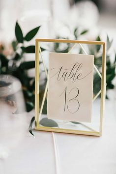 Gold Geometric Wedding Table Numbers // calligraphy, romantic, boho