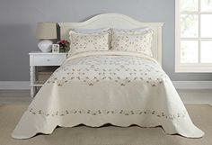 Modern Heirloom Collection Felisa Cotton Filled Bedspread, Queen, 102 by 118-Inch Searching bedroom decorating inspiration - http://aluxurybed.com/product/modern-heirloom-collection-felisa-cotton-filled-bedspread-queen-102-by-118-inch/