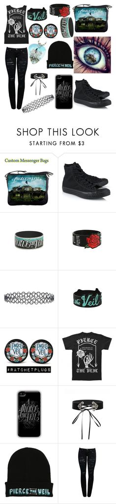 """Pierce the Veil"" by xofrnk-ieroxo ❤ liked on Polyvore featuring Converse, Hot Topic and New Look"