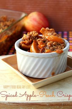 Spiced Apple-Peach Crisp {with or without whiskey} - A wonderful way to say goodbye to summer while greeting autumn flavors.