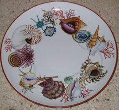 L'atelier Créations de Jany, Peinture sur porcelaine, grande coupe avec coquillages