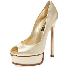Casadei Women's Metallic Leather Peep-Toe Pump - Gold - Size 37 ($359) ❤ liked on Polyvore featuring shoes, pumps, gold, leather shoes, peep toe pumps, gold pumps, peep toe platform pumps and gold high heel shoes