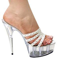 58343ea5767 White 6 inch heel slip on mule slide Clear High Heels