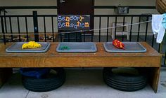 Sensory table---wish I had thought of this when my kids were little.