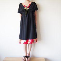 OKINAWA DRESS  -ビンテージの着物地を使ったドレス Japanese Sewing, Japanese Fabric, Kimono Fabric, Kimono Dress, Sewing Clothes, Diy Clothes, Vintage Kimono, Pattern Mixing, Different Styles