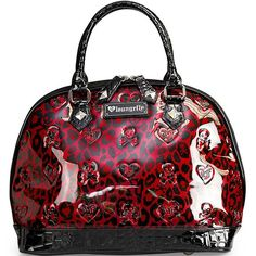 Leopard Skull Patent Embossed Bag by Loungefly (Red/Black)