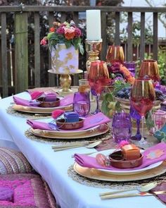 How to set a gorgeous jewel-toned table setting for an Arabian Nights themed bridal shower, birthday party, or dinner party. Get details and tons more party ideas now at fernandmaple.com. Romantic Wedding Inspiration, Wedding Ideas, Table Setting Inspiration, White Dinner Plates, Gold Spray Paint, Diy Centerpieces, Wedding Table Settings, Arabian Nights, Jewel Tones