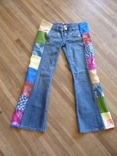 Jeans Patchwork Jeans Handmade Unique by hippiehousedesigns