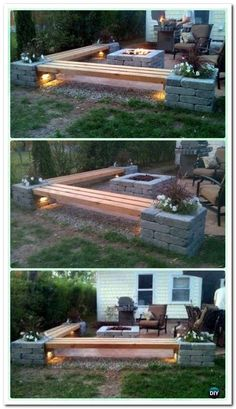 DIY Propane Fireplace & Corner Benches with Landscape Lighting and Pillars with P . DIY Propan-Kamin & Eckbänke mit Landschaftsbeleuchtung und Säulen mit P … DIY Propane Fireplace & Corner Benches with Landscape Lighting and Pillars with P … Diy Propane Fire Pit, Fire Pit Backyard, Backyard Bbq, Garden Fire Pit, Fire Pit Gazebo, Patio With Firepit, Backyard Fire Pits, Deck With Fire Pit, Outdoor Propane Fire Pit