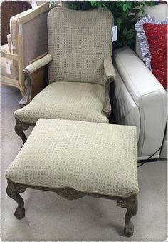 Beautiful Chair and Ottoman perfect neutral accent~Feb 2016