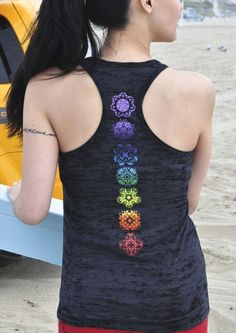Jala Clothing Chakra Racerback Burnout Tank Black @ www.downdogboutique.com #YogaClothes #Yoga