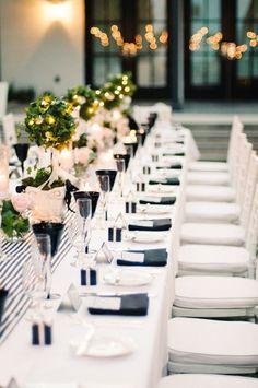 Black and white wedding table setting. Honey Honey Photography http://hoooney.com/ www.wedsociety.com