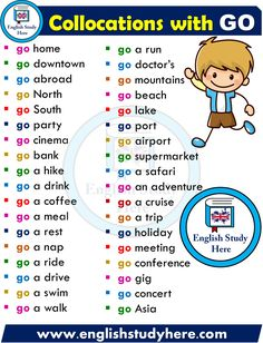 English Collocations with GO - English Study Here Learn English Grammar, English Vocabulary Words, Learn English Words, English Idioms, English Phrases, English Language Learning, English Study, English Lessons, English English