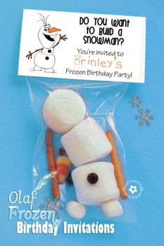 DIY Olaf Frozen Birthday Party Invitations I like the 'build a snowman' idea -- cute little gift for kids. Olaf Party, Frozen Bday Party, Snowman Party, 4th Birthday Parties, Birthday Fun, Frozen Party Food, Frozen Party Favors, Elsa Birthday, Disney Frozen Party