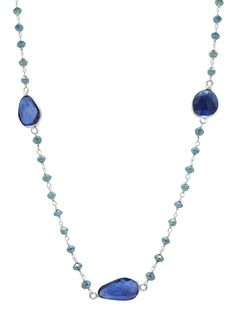 Blue Diamond 14K White Gold  Rosary Beads with Blue Sapphire Slices by TIAARA (Also available in Yellow Gold)
