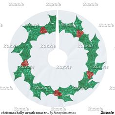 christmas holly wreath xmas tree skirt