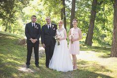 Blush and White Historic Church Wedding | Smithfield, Virginia | Black and blush bridal party portraits