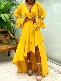 Asymetrical Ruffle Tie Waist Dip Hem Wrap Dress