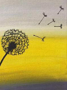 Dandelion Wishes Acrylic original painting yellow by JustJezzie