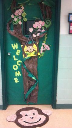 My classroom door. Jungle Theme Classroom, Classroom Walls, Classroom Bulletin Boards, Classroom Displays, Kindergarten Classroom, Classroom Themes, Classroom Organization, Class Displays, Future Classroom