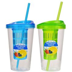 Turn plain tap water into a healthy tropical drink. Large 20-oz. tumblers contain infuser baskets that allow you to flavor your water with fruit, citrus, and vegetables without getting the fruit and v
