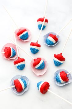 Red, White, and Blue Strawberry Firecrackers - California Strawberry Recipes - # 4th Of July Desserts, Fourth Of July Food, 4th Of July Celebration, Cute Desserts, 4th Of July Party, Holiday Desserts, July 4th, Blue Strawberry, Strawberry Recipes