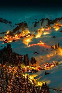 Lights in the darkness of the snowy mountains