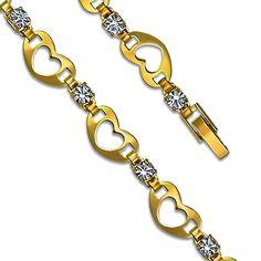 Heart w/ Halo CZ Clip On 14K Yellow Gold Plated Fancy Bracelet
