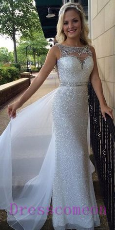 New 2016 Sheath Sequin Prom Dresses, Long Prom Dress With White Overskirts,Formal Evening Gowns