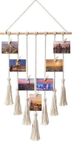 Mkono Hanging Photo Display Macrame Wall Hanging Pictures Organizer Boho Home Decor, with 25 Wood Clips title: Mkono Hanging Photo Display Macrame Wal Photo Wall Hanging, Hanging Photos, Wall Hanging Crafts, Hanging Artwork, Creation Deco, Room Wall Decor, Bedroom Decor, Vintage Diy, Home And Deco