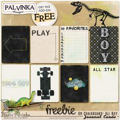 Free On Chalkoboard: All Boy Journal Cards from Palvinka Designs