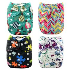 Baby Reusable & Washable Basic All-in-One Diapers (4pc-set), 20% discount @ PatPat Mom Baby Shopping App