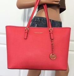 Michael Kors Medium Jet Set Travel Multifunction Saffiano Leather Tote Bag Coral #MichaelKors #TotesShoppers