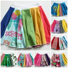 handmade, upcycled t shirt skirts!- handmade, upcycled t shirt skirts! handmade, upcycled t shirt skirts! Upcycling T Shirts, Recycled T Shirts, Old T Shirts, Fashion Kids, Diy Fashion, T-shirt Rock, Sewing Kids Clothes, Kids Clothes Refashion, Diy Kleidung