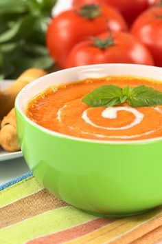 La Madeleine's Tomato-Basil #Soup #Recipe * My tomatoes are ripening. This sounds delicious and easy