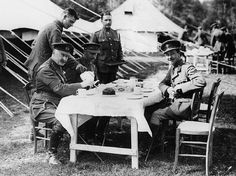 British officers taking a tea break in World War One. (Photo: National Library of Scotland/Public Domain)