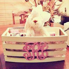 such a cute crate idea for big/little reveal! Phi Sigma Sigma, Delta Phi Epsilon, Kappa Kappa Gamma, Phi Mu, Big Little Basket, Big Little Gifts, Little Presents, Sorority Big Little, Sorority Crafts
