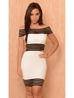 4486335fc2b6 Ladies Sleeveless Dress With Striped Mesh