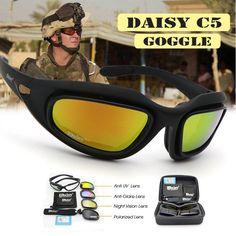Daisy Polarized Army Goggles Military Sunglasses 4 Lens Kit Men's Desert Storm War Game Tactical Glasses Sporting Polarized Sunglasses, Oakley Sunglasses, Mens Sunglasses, Tactical Gear, Lens, Military, Free Shipping, Football Kits, Shopping