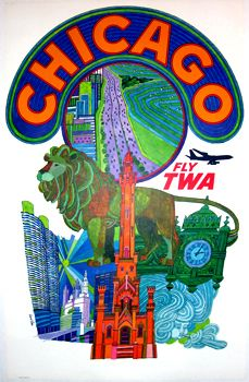 David Klein created iconic advertisements for his client TWA. Klein, through his use of bright colors and famous landmarks created these original vintage travel posters. #imageofthemonth #originalvintage #art #colorful #travelposters #prints #Chicago #interiordesign #midcentury #airlineposters #originalposters #chicagocenterfortheprint #americantravel #artgallery #vintagetravel