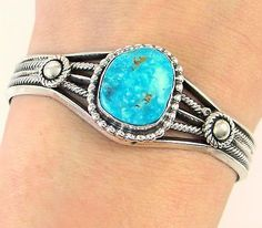 Gorgeous-Navajo-Handmade-Solid-925-Sterling-Silver-Turquoise-Cuff-Bracelet-J-AA