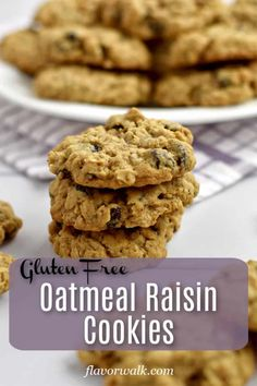 These Gluten Free Oatmeal Raisin Cookies are filled with raisins and lots of oats. Theyre soft chewy and impossible to resist! Gluten Free Flour Mix, Gluten Free Peanut Butter, Gluten Free Oatmeal, Peanut Butter Oatmeal, Best Gluten Free Cookies, Gluten Free Cookie Recipes, Gluten Free Desserts, Just Desserts, Oat Cookies