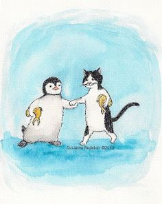 """Pinguin: """"I have an unique surprise for you"""" Cat: """"I also have an unique surprsie for you""""  The secret to humor is surprise -Aristotle- My illustration Friday """"Secret"""""""