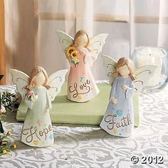 """Wish someone special """"Faith"""", """"Hope"""" and """"Love"""" with a gift of three beautiful angels. Each resin angel is detailed to complement any room's look. Polymer Clay Projects, Clay Crafts, Christmas Angels, Christmas Crafts, Pottery Angels, Clay Angel, Willow Tree Figurines, Polymer Clay Christmas, Cold Porcelain"""
