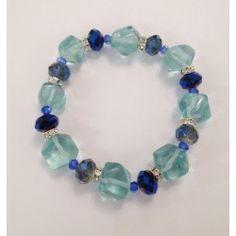 Bracciale elastico in acqua marina e cristalli blu