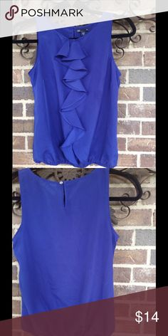 "Royal Blue Gap Blouse Royal Blue ruffled blouse from Gap. XS.  Sleeveless w/elastic bottom. Machine wash cold. Bust 16"" Length 21"". GAP Tops Blouses"