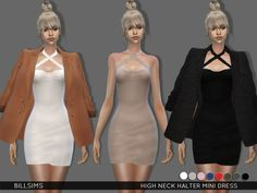 High Neck Halter Mini Dress by Bill Sims at TSR • Sims 4 Updates